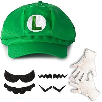 Katara Juego de Disfraz de Super Mario - 1 Gorra Verde de Luigi 4df216cb9e3