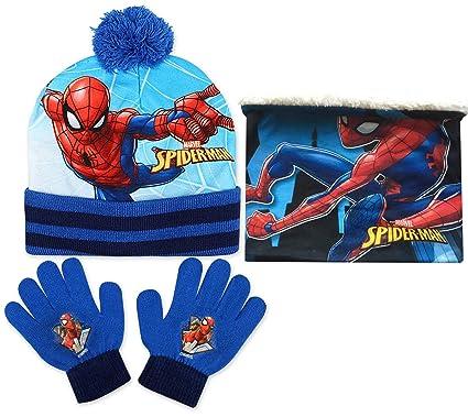 Jujak Spiderman – Ensemble de Bonnet, écharpe et gants Bleu - taille unique d1bf81048ad