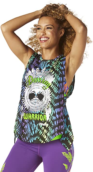 Zumba Backless Dance Fitness Womens Tops/Â Breathable Open Back Bold Front Graphic Print Loose Fit Exercise Workout Tank Tops for Women