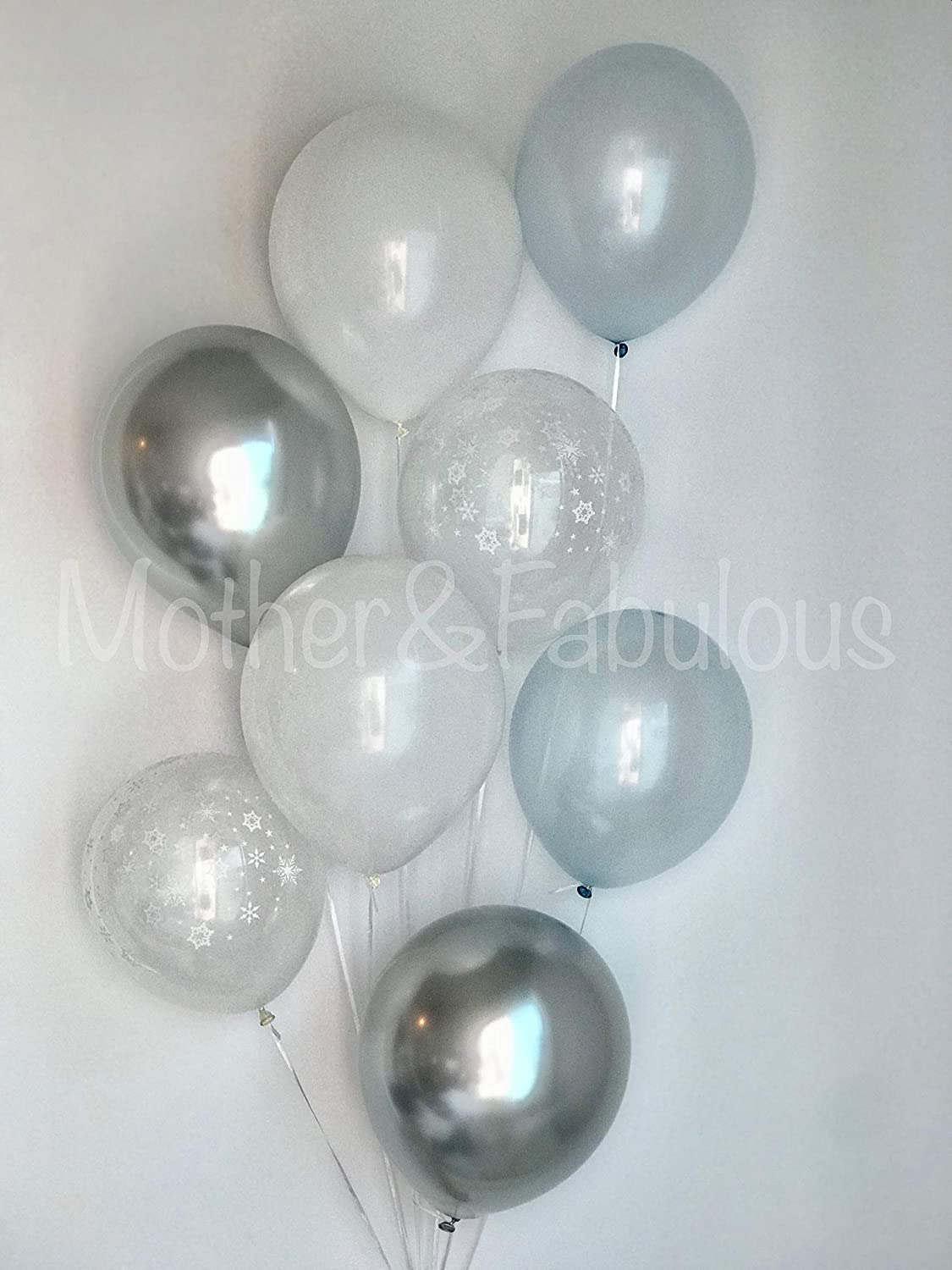 Everything Fabulous 12 3.2 Helium Quality Baby Boy /& Winter Theme Birthday Party Balloons Clear Latex Balloons with Falling White Snowflakes Design Pearl Silver and Light Baby Blue