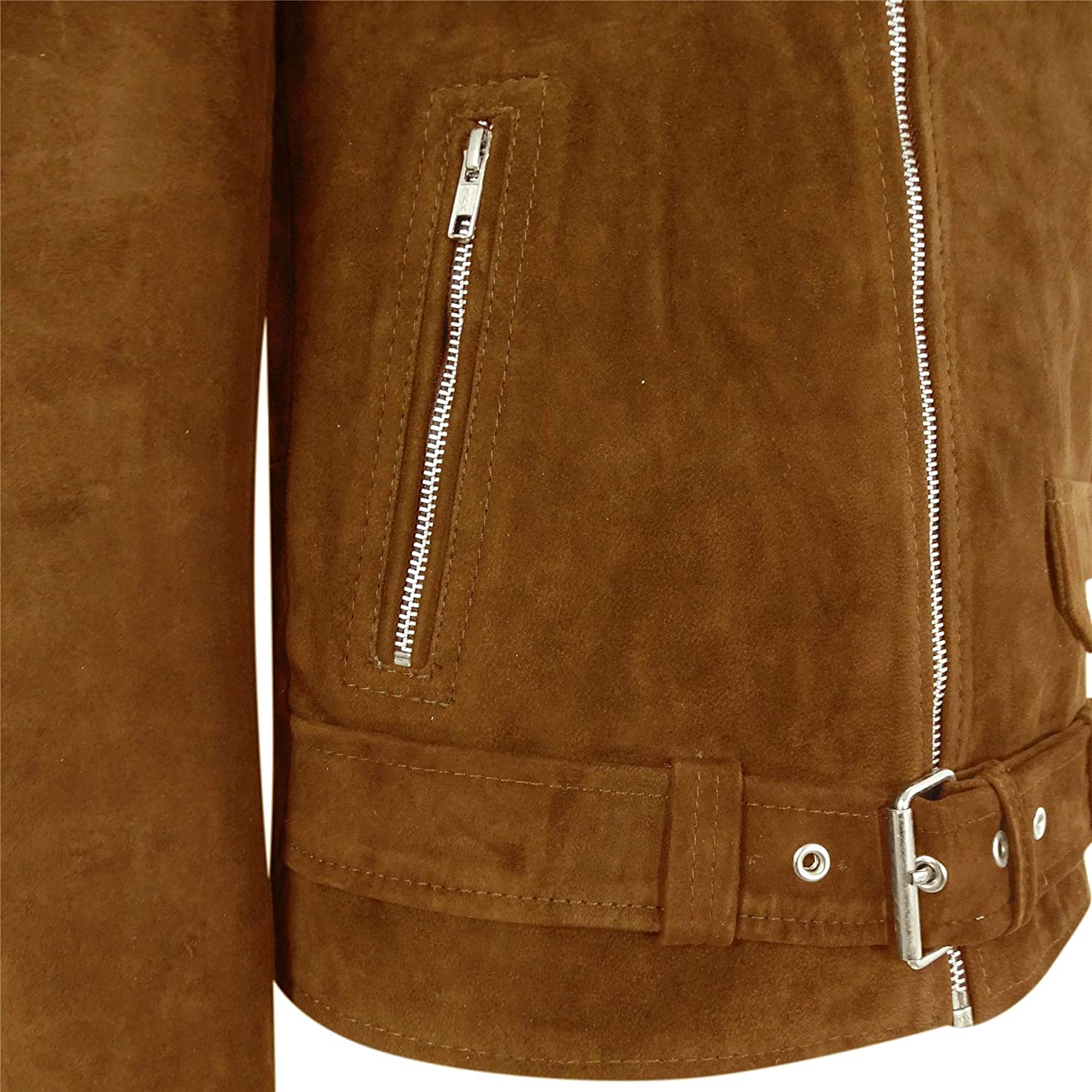 TruClothing Mens Slim Fit Cross Zip Vintage Brando Washed Real SuedeJacket Brown Tan Camel
