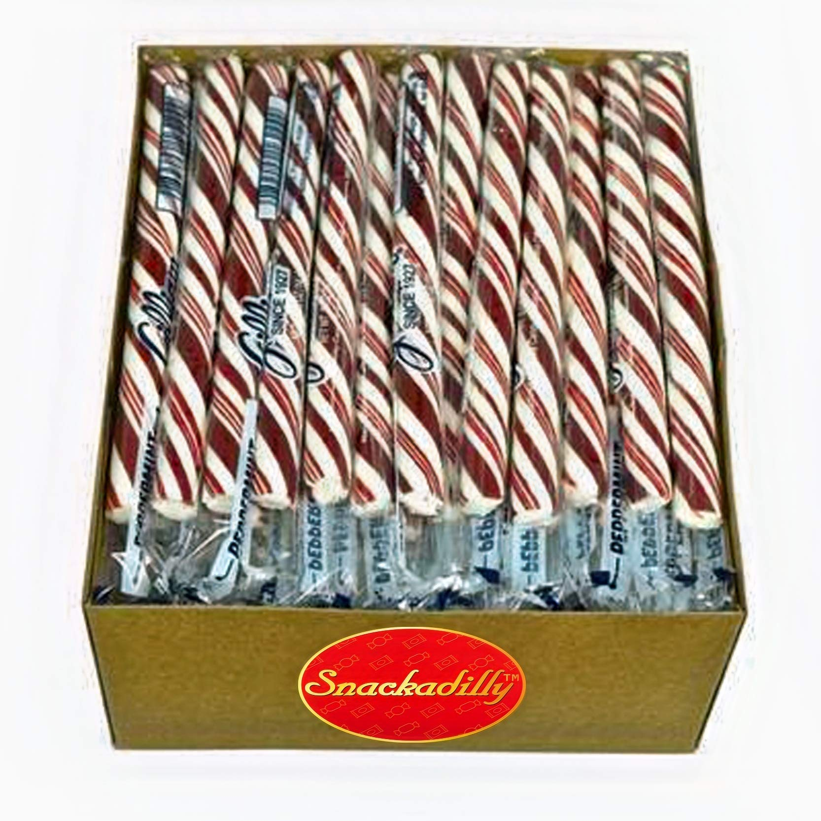 Peppermint Candy Sticks - Box Of 80 Candy Sticks Individually Wrapped - Carefully Packaged By Snackadilly