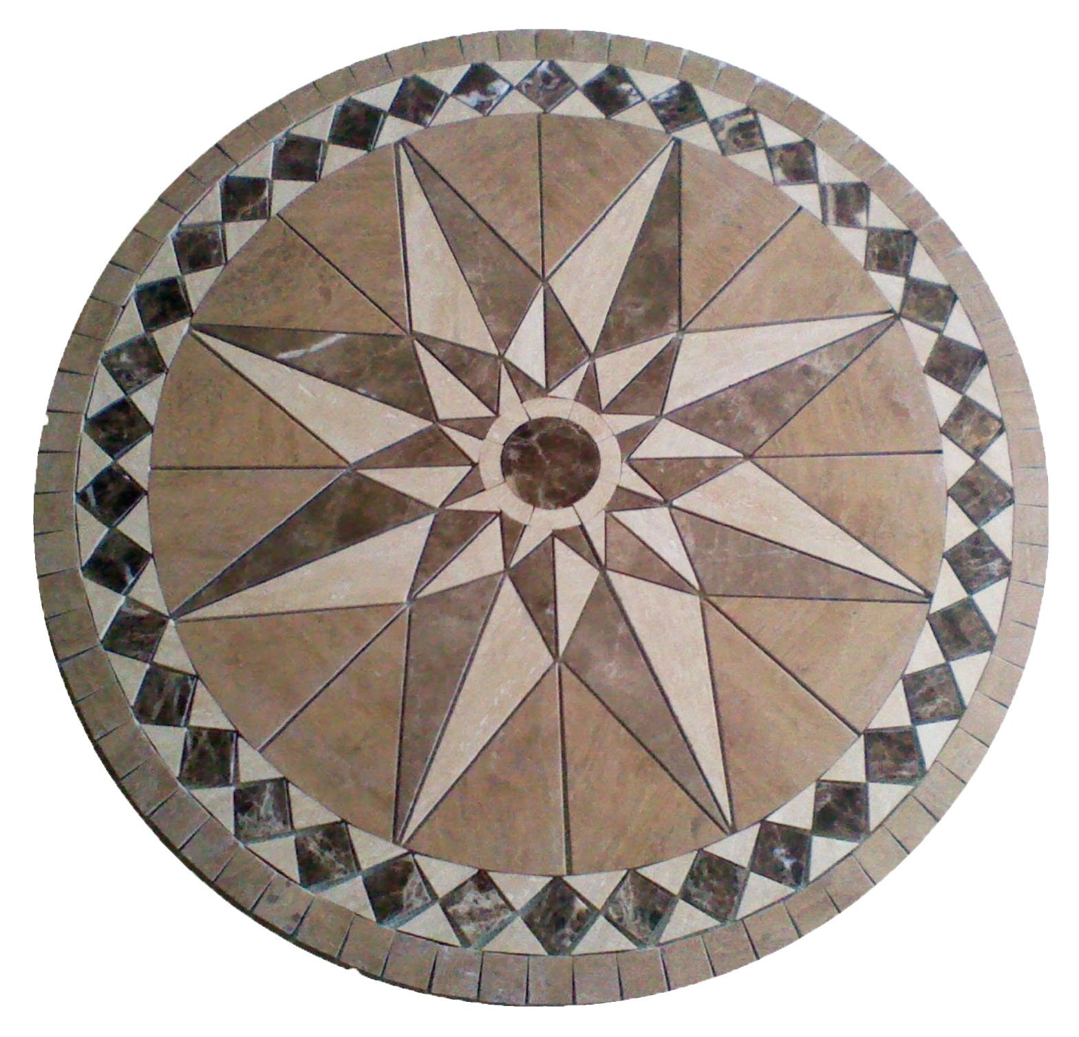 Tile Floor Medallion Marble Mosaic Travertine Star 36'' by MedallionUS