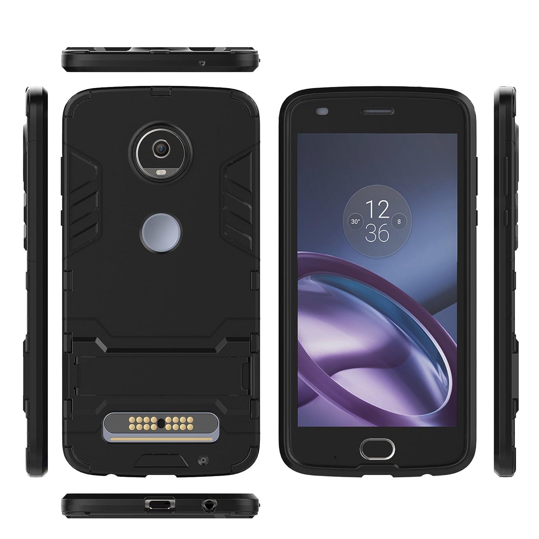 Noir 2nd gen 5.5 // XT1710 Coque Moto Z2 Play SsHhUu Sto/ßsichere Dual Layer Hybrid Tasche Schutzh/ülle mit St/änder f/ür Motorola Moto Z2 Play 2017 // Moto Z Play