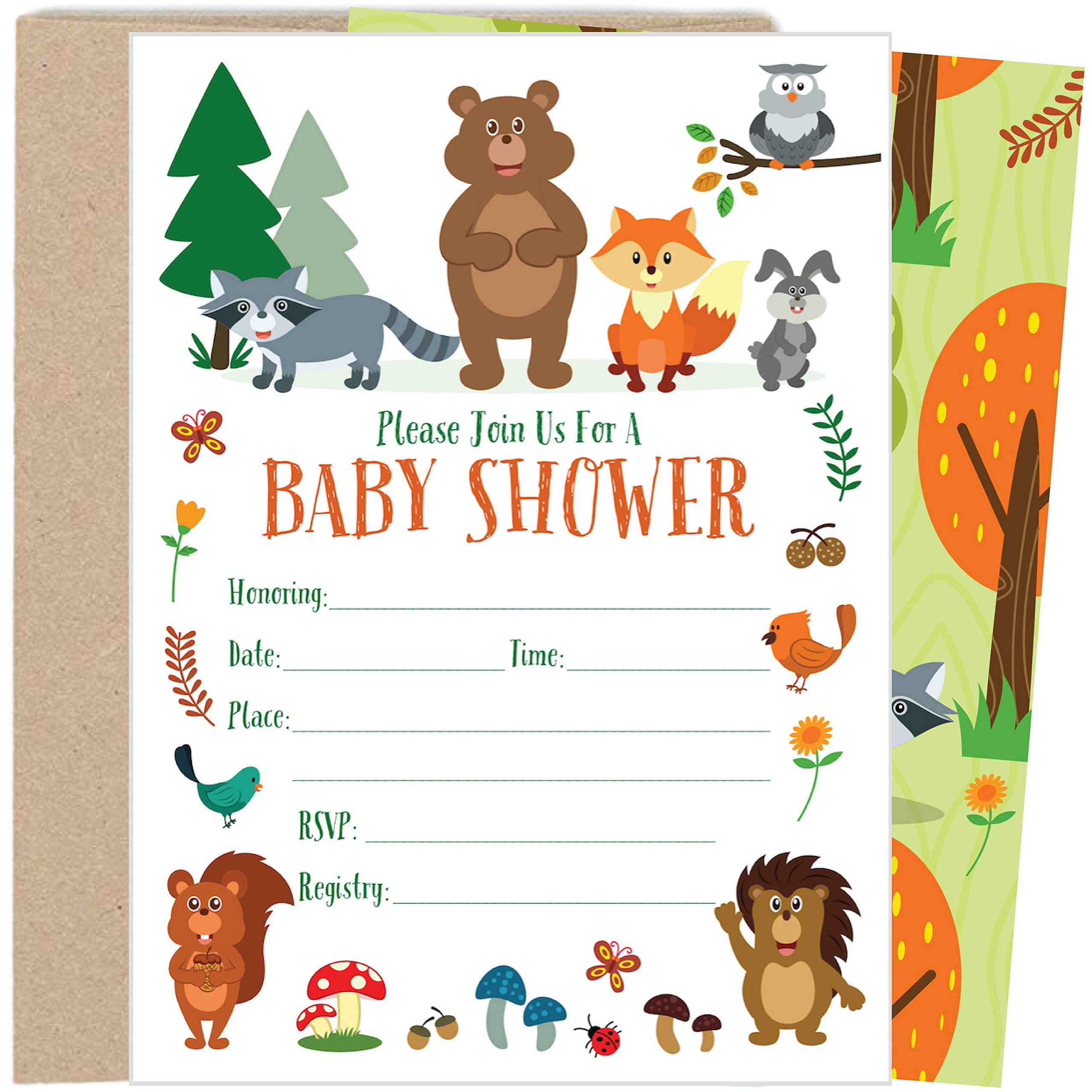 25 Woodland Baby Shower Invitations with Envelopes (5x7 inch)