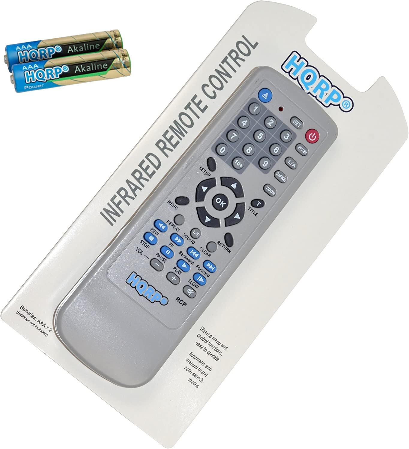 HQRP Remote Control Compatible with Sony DVP-NS700P DVP-NS70H DVP-NS710H DVP-NS715P DVP-NS71HP DVP-NS725P Blu-ray Disc DVD Player