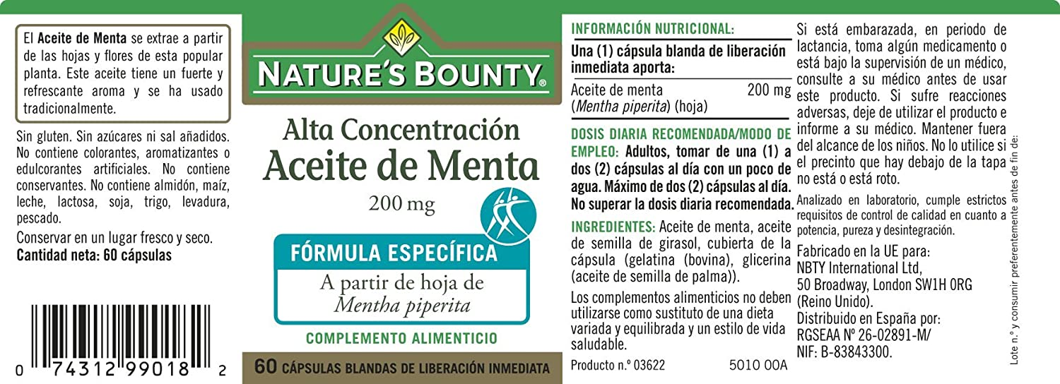 Natures Bounty Aceite de Menta 200 Mg - 60 Cápsulas: Amazon.es ...