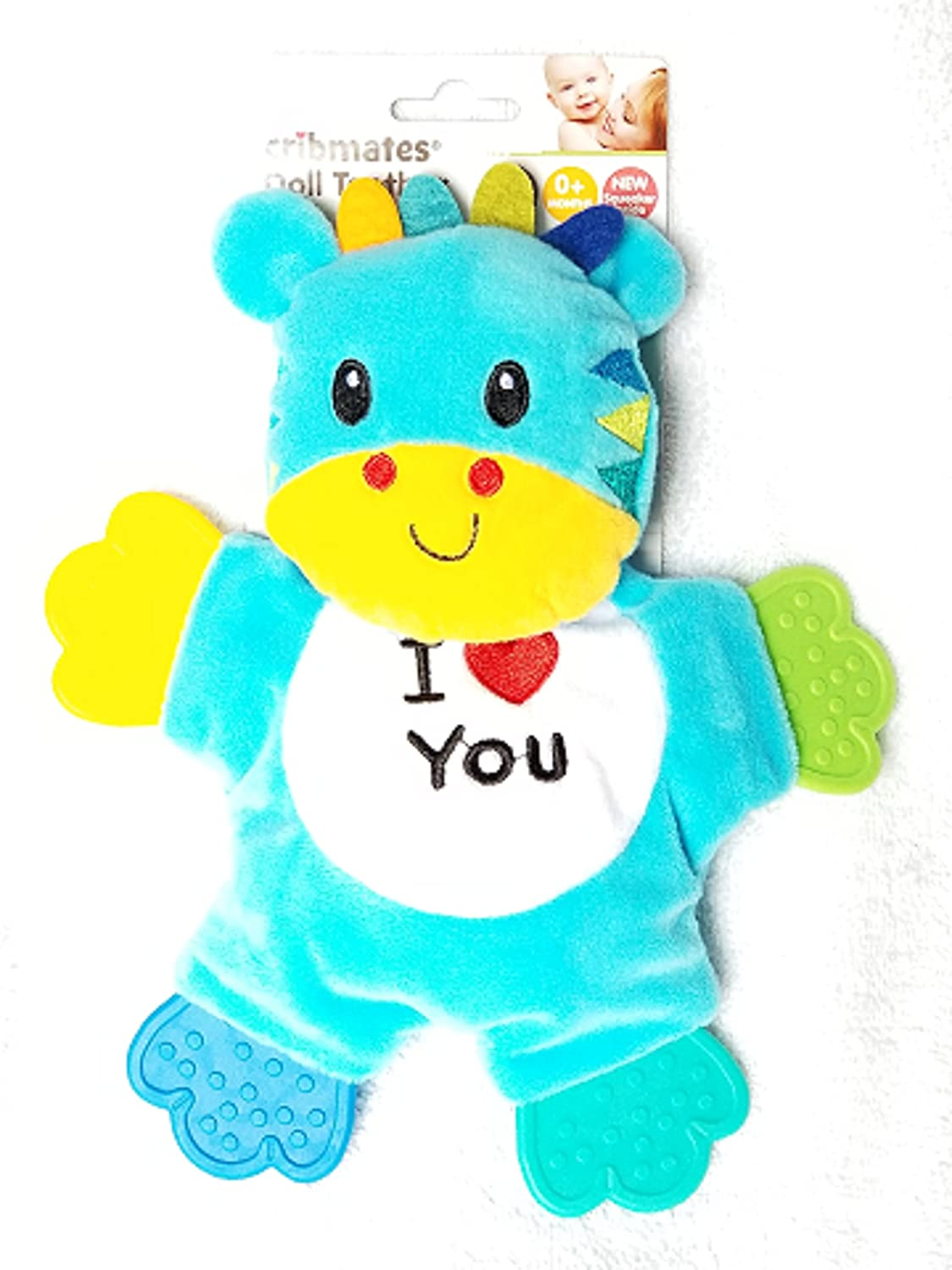 Cribmates Teether Doll Teal Blue I LOVE YOU Tiger with Four Multi-Color Teether Paws and Soft Crinkle Body Regent Baby Products
