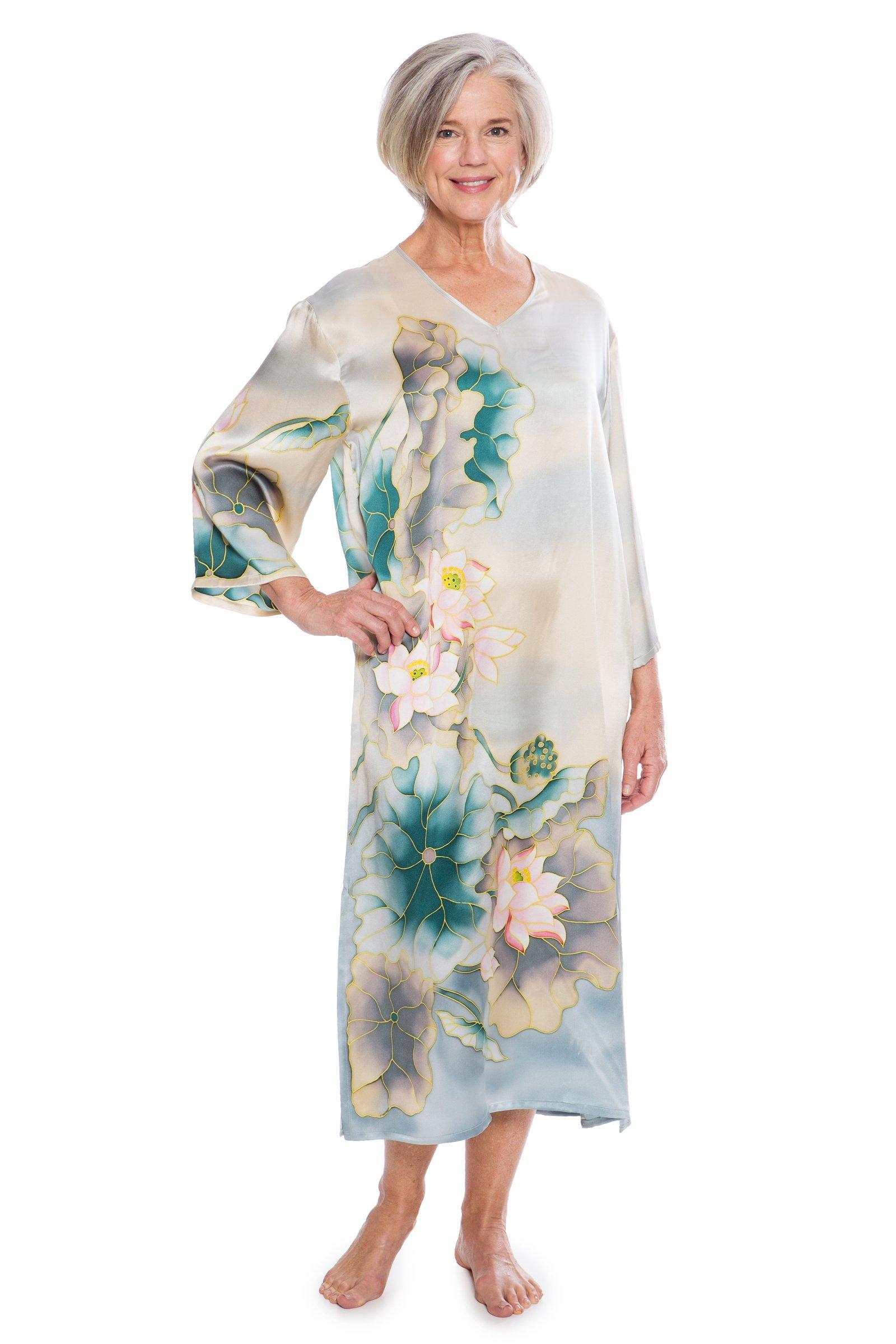 TexereSilk Women's Luxury 100% Silk Caftan - Beautiful Night Gown by (Lotusilk, Lake, Large) Elegant Long Sleepwear Present For Her TS-WS042-002-LAKE-R-L by TexereSilk (Image #1)