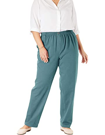 24174648 Woman Within Women's Plus Size Elastic-Waist Cotton Straight Leg Pant