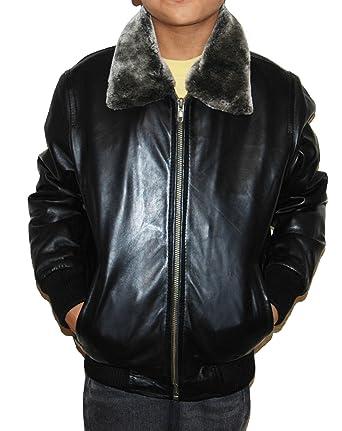 4a288d9597ba Amazon.com  Boys Genuine Sheep Leather Bomber Jacket Kids Childrens ...