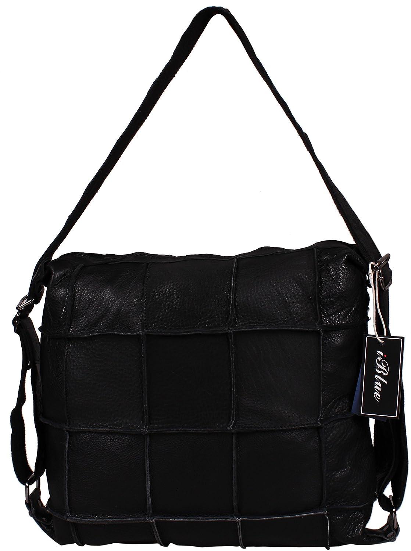 Iblue Womens Casual Leather Splicing Patchwork Bag Checked Crossbody Handbag 16.5 Inch #682