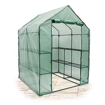Relaxdays Foliengewächshaus begehbar 190x140x140 cm (HxBxT), PE Gitterplane Treibhaus mit 8 Ablagen f. Anzucht, grün