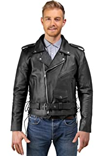 Mens Leather Motorcycle Jacket, Side Lace, Zip-Out Lining, Pockets Inside &