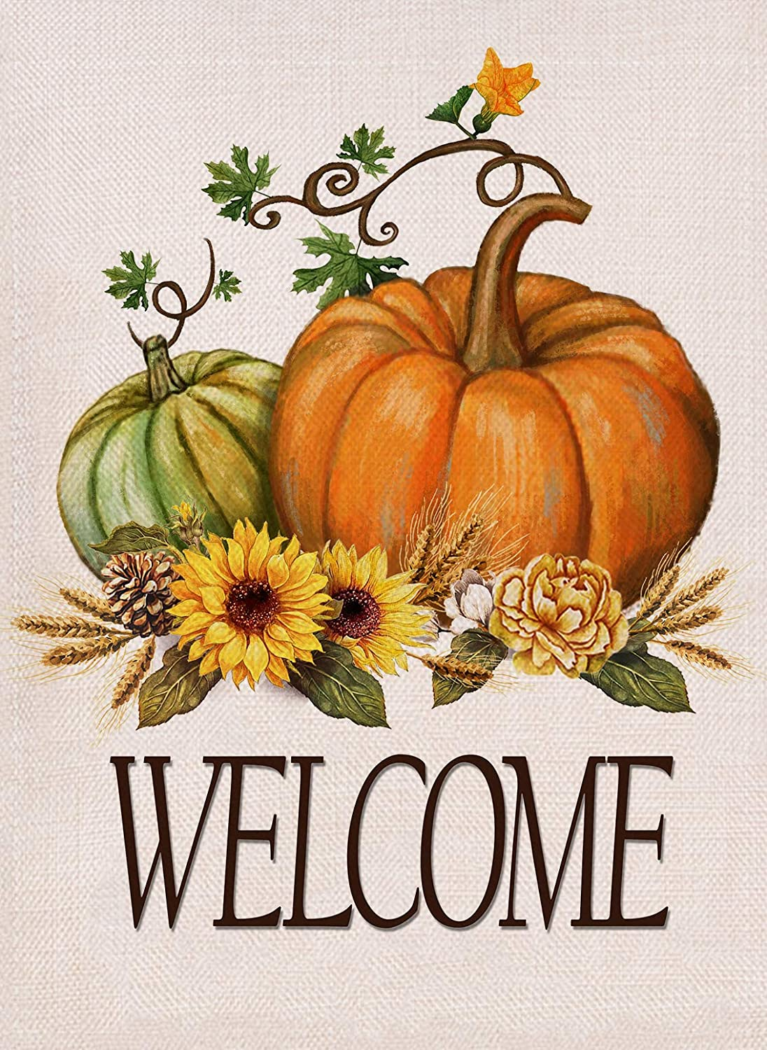 Furiaz Welcome Fall Pumpkin Patch Garden Flag, House Yard Outdoor Decorative Small Flag, Autumn Harvest Sunflower Wheat Seasonal Outside Decorations, Thanksgiving Home Decor Flag Double Sided 12 x 18