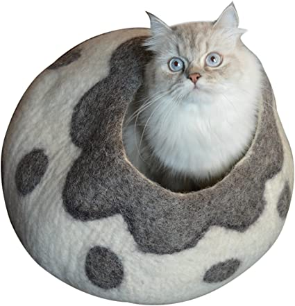 Earthtone Solutions Cat Cave Bed, Unique Handmade Natural Felted Merino Wool, Large Covered and Cozy, Also Perfect for Kittens, Includes Bonus Catnip, ...