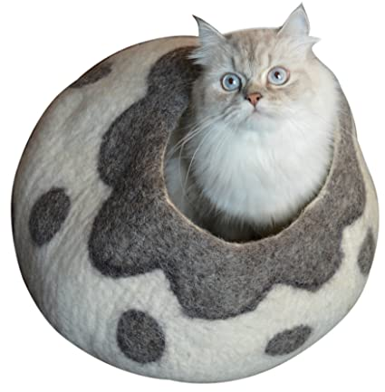 Best Cat Cave Bed, Gray White Handmade Natural Felted Merino Wool, Large  Covered Cozy
