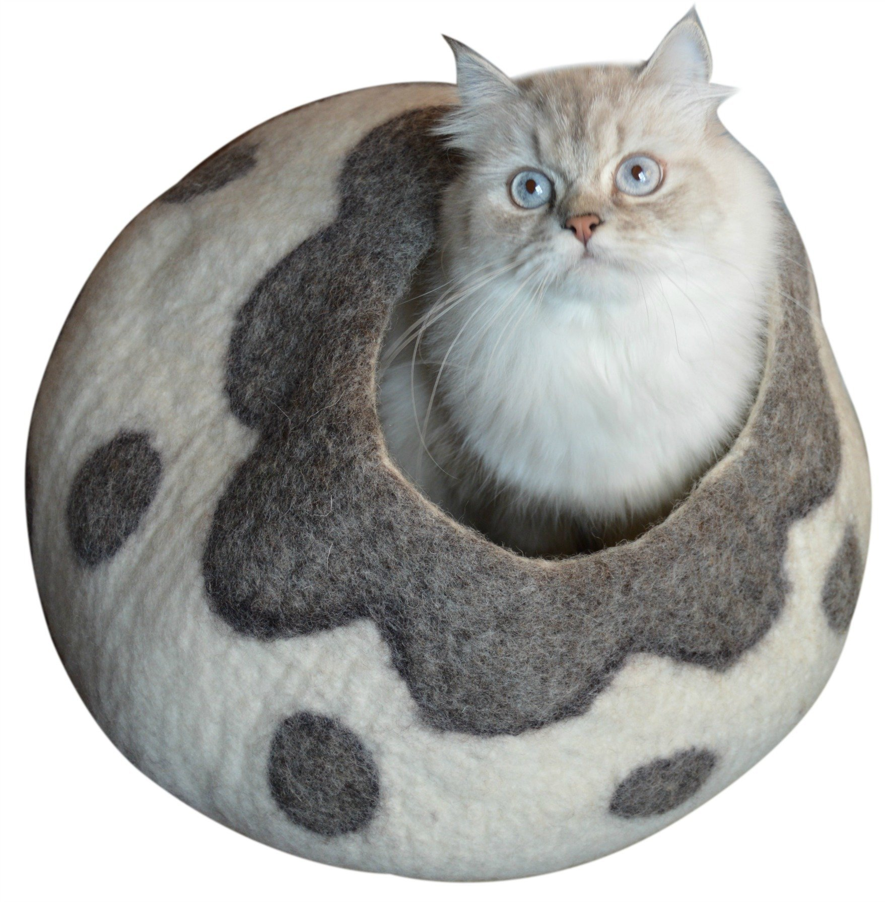 Best Cat Cave Bed, Gray White Handmade Natural Felted Merino Wool, Large Covered Cozy Cocoon, Indoor Hideaway Igloo House, Also Perfect Kitten Gift. Bonus Catnip, By Earthtone Solutions (Cozy Pueblo)