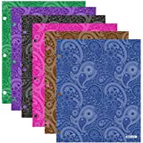Bazic Products Bright Colored Glossy Finish Laminated Paisley Design 2 Pocket Portfolios - Set of 4 Folders