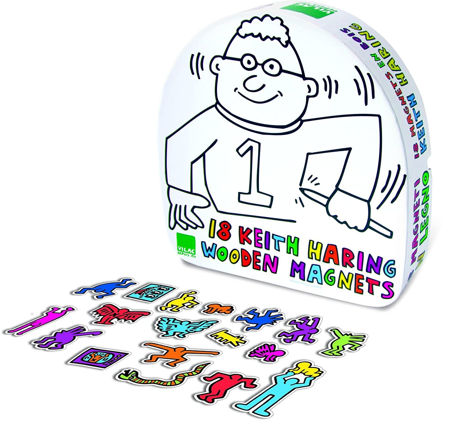 amazon com vilac set of 18 keith haring magnet baby toys baby