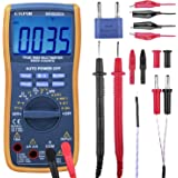 Etepon Digital Multimeter True RMS 6000 Auto Raging Voltage Tester,Measures Voltage,Current, Resistance,Continuity,Frequency,Temperature, incl Diodes,Transistors,Alligator Clips Jumper Wire(WH5000A)