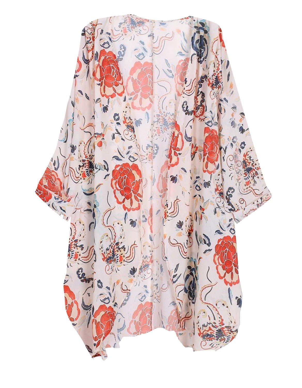 Tribear Women's Sheer Chiffon Kimono Cardigan Solid Casual Capes Beach Cover up