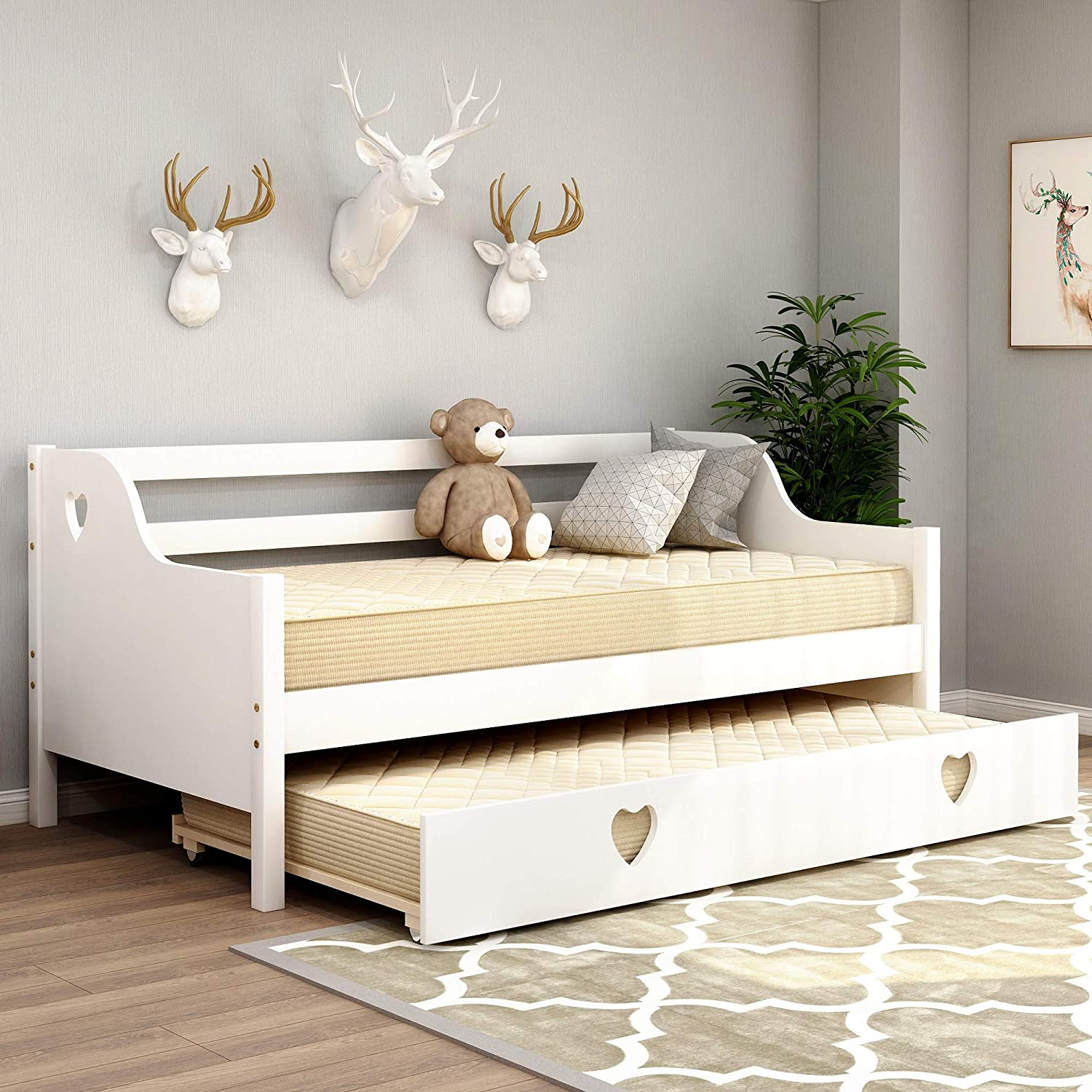 - Amazon.com: Daybed With A Trundle, Solid Wood Trundle Daybed Twin