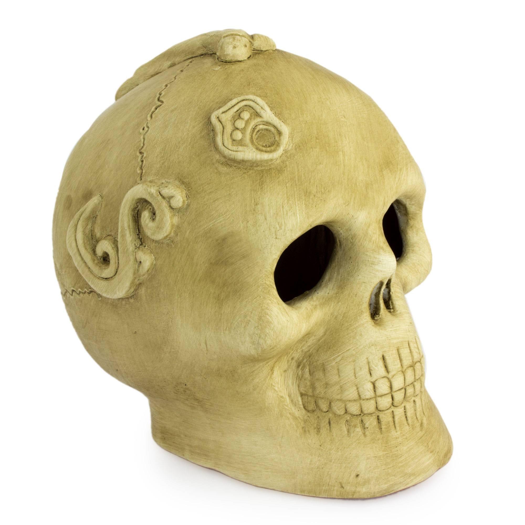 NOVICA Beige Skull Ceramic Figurine, 6'' Tall, Ivory Offering'