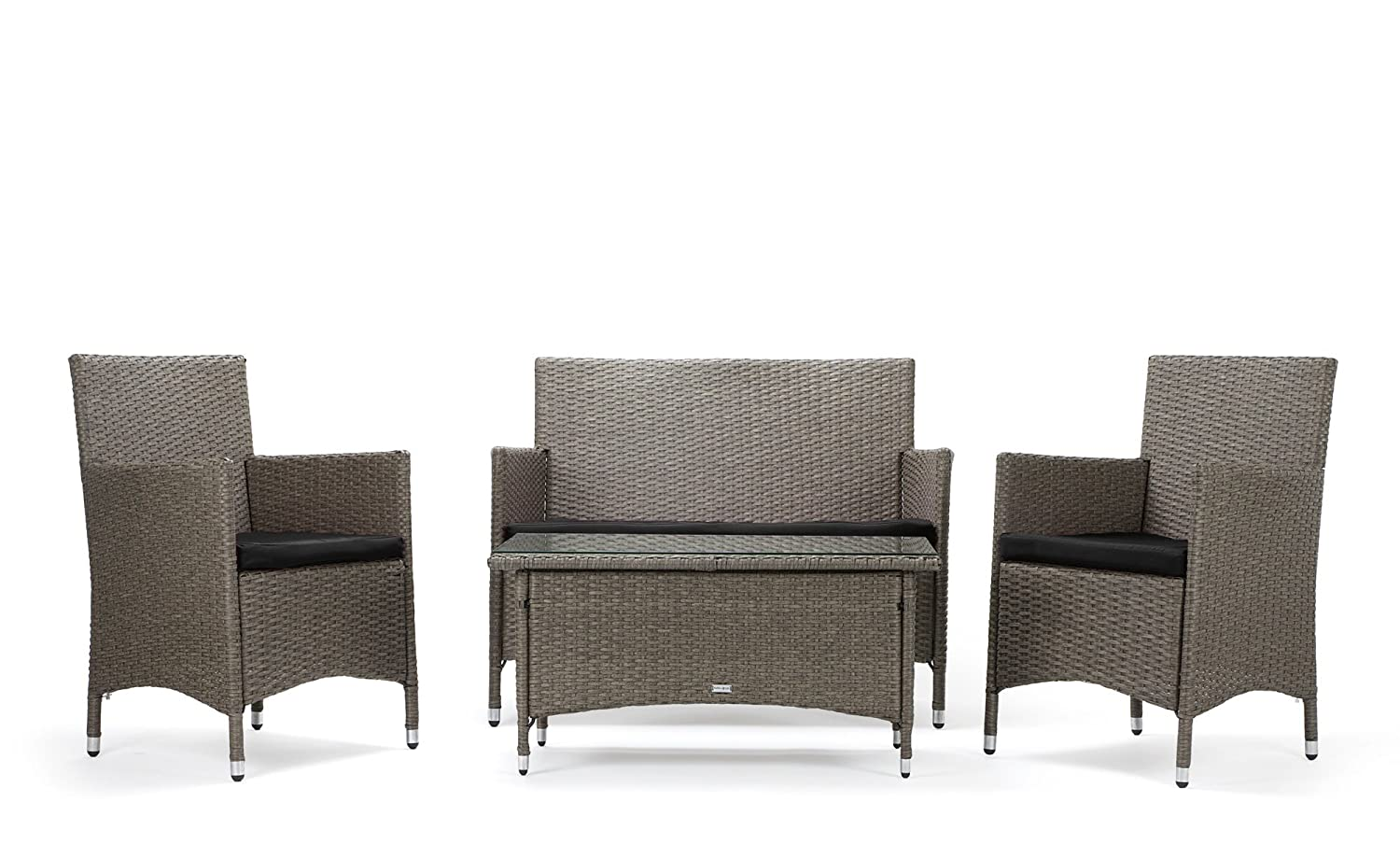 rattan4life sitzgruppe avignon 4 teilig deluxe polyrattan gartenm bel set sofa lounge. Black Bedroom Furniture Sets. Home Design Ideas
