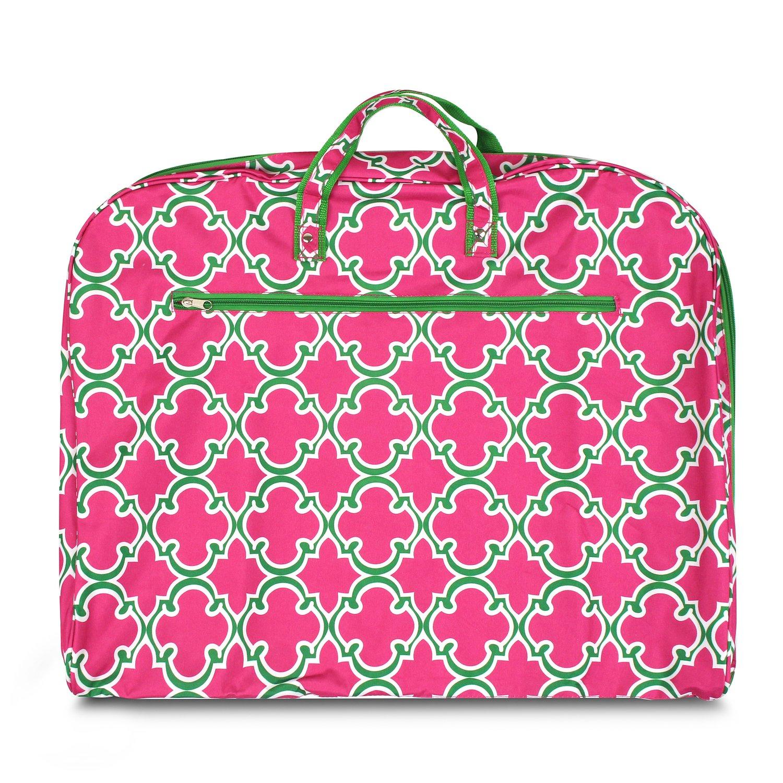 Zodaca Quadrifoil Pink Green Garment Hanging Bag