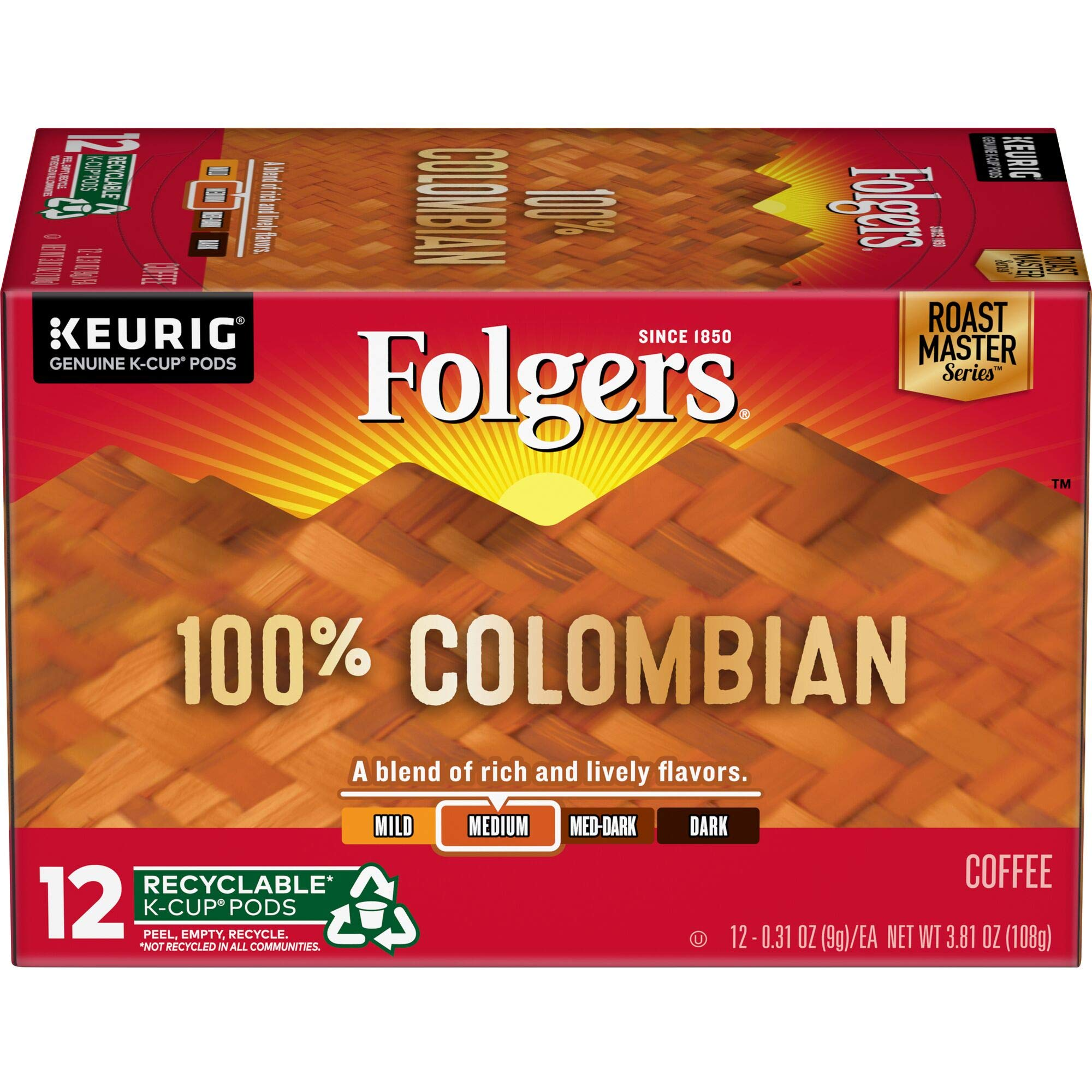Folgers K Cups 100% Colombian Coffee for Keurig Makers, Medium Roast, 72 Count by Folgers