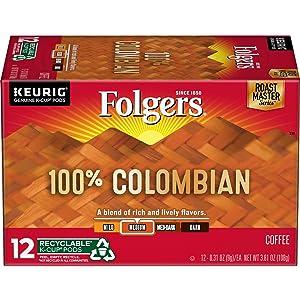 Folgers K Cups 100% Colombian Coffee for Keurig Makers, Medium Roast, 72 Count