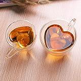 Aliciashouse Coeur clair transparent double couche de verre thé Café Tasse de -L