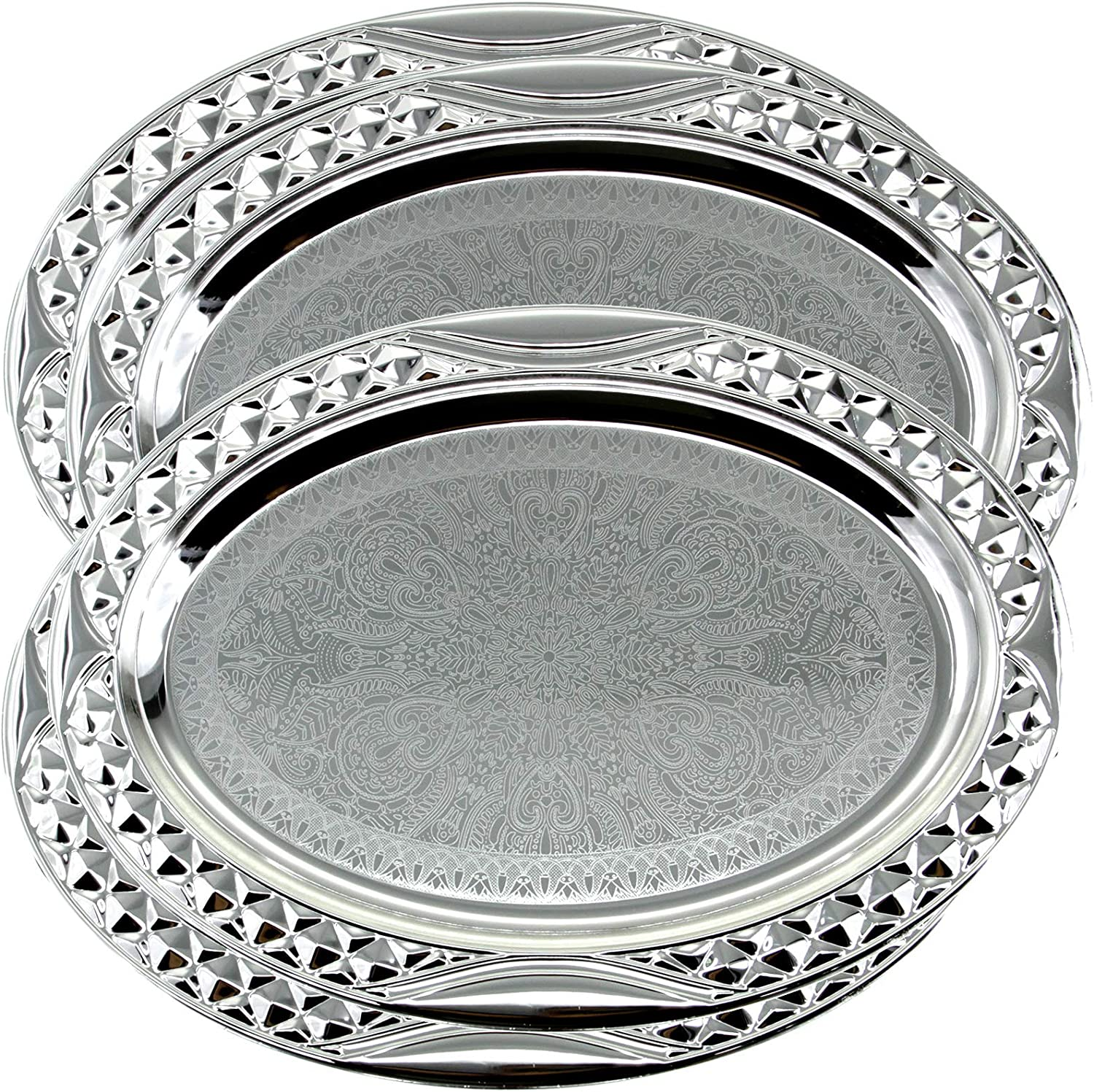 Maro Megastore (Pack of 4) 17.5 inch x 12.8 inch Oval Chrome Plated Serving Tray Stylish Design Floral Engraved Edge Decorative Party Birthday Wedding Dessert Buffet Wine Platter Plate TLA-438