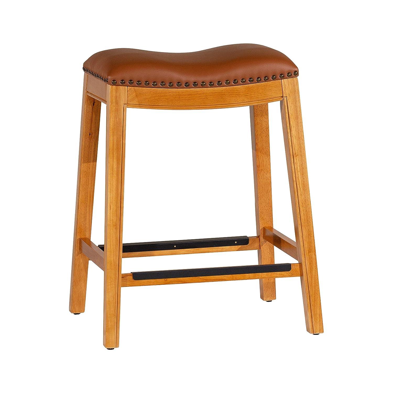 DTY Indoor Living Montrose Bonded Leather Saddle Stool, 24 Counter Stool, Natural Finish, Saddle Leather Seat