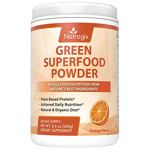 Natrogix Green Superfood Powder - Plant-Based Protein, Achieve Daily Food Nutrition, Natural & Organic Diet, Riches in Vitamins, Minerals and Antioxidant Fruits, Orange Flavor, Made in USA (8.5 Oz)