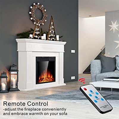 Buy Jamfly Electric Fireplace Mantel Package Wooden Surround Firebox Tv Stand Free Standing Electric Fireplace Heater With Logs Adjustable Led Flame Remote Control 750w 1500w White Online In Indonesia B07thb17bj