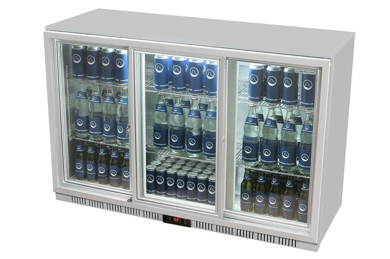 Glastür-Kühlschrank 90 x 135 x 52 cm silber   Getränkekühlschrank ...