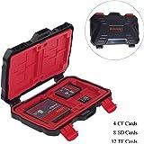 Digiant Memory Card Case Boîte de rangement pour cartes de résistant à l'eau Convient pour SD TF SIM Nano SDXC Cartes SDHC (Noir + Rouge)