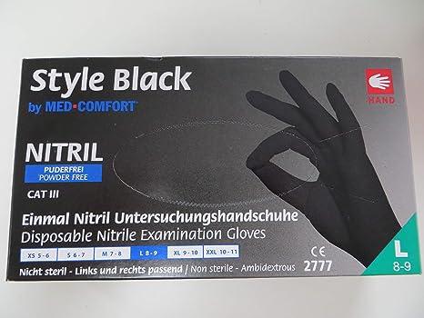 X L BLACK NITRILE HIGH GRIP DISPOSABLE GLOVES LATEX /& POWDER FREE SIZE LARGE