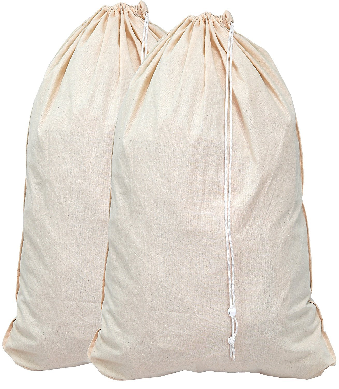 Aosika Borse di tela Borse in tela extra large in cotone per impieghi gravosi per studenti universitari Colore naturale Confezione da 2 pezzi