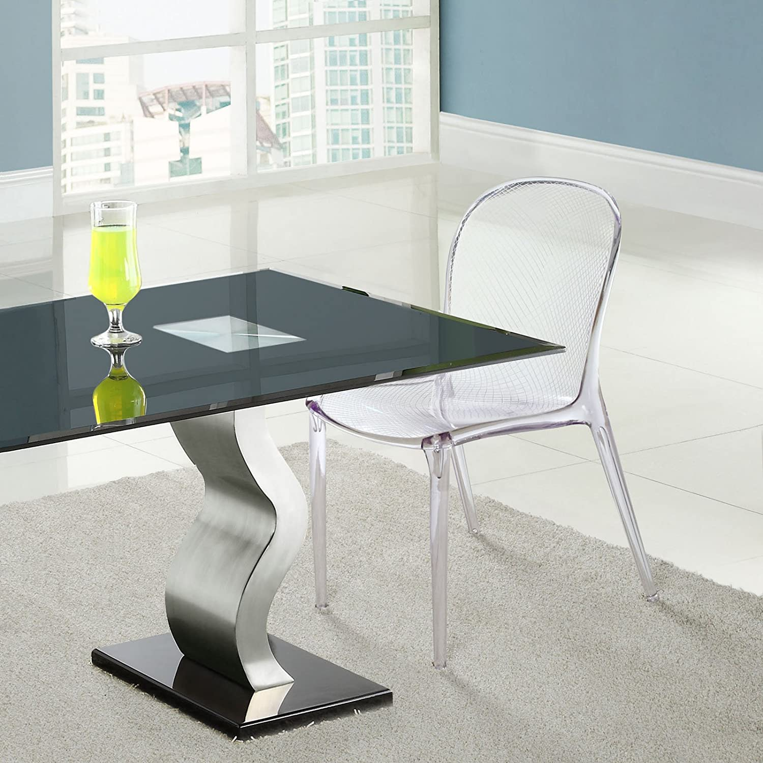 Amazon com  Modway Scape Dining Side Chair in Clear  Kitchen   Dining. See Through Office Chairs. Home Design Ideas