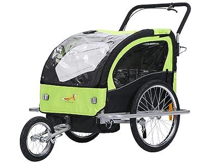 fixi Master 2 en 1 Baby Remolque de bicicleta Cochecito mano carro Jogger verde/negro