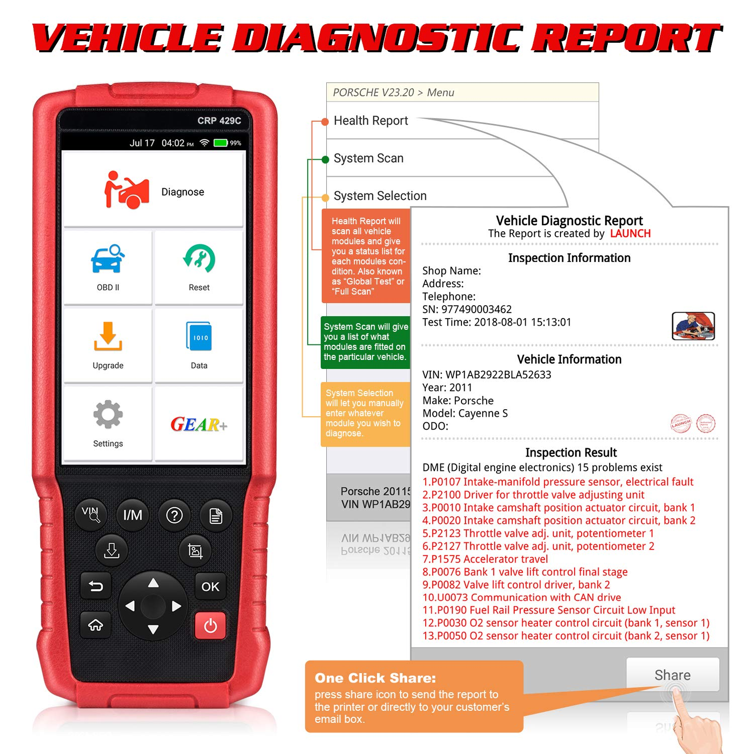 LAUNCH X431 CRP429C OBD OBD2 Scanner ABS SRS TCM ENG Code Reader Automotive Diagnostic Tool with Oil Reset,TPMS Reset, ABS Bleed, Injector Coding, IMMO, EPB, BMS, SAS, DPF,TPS