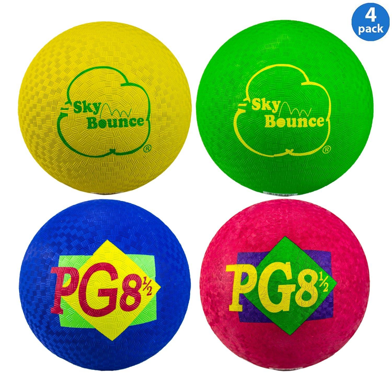 Sky Bounce Playground Ball (4 Pack) 8.5'' Circumference Rubber Ball - Perfect for Dodgeball (Dodge Ball) and Kickball (Kick Ball) Games