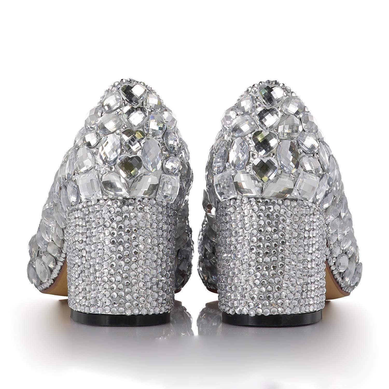Moontang Moontang Moontang Damen Sparkle Silber Strass Loafers Dicke Ferse wies Brautjungfer Braut Hochzeit Schuhe (Farbe   Silber Größe   4UK(Foot Length 23.5CM)) b008c2
