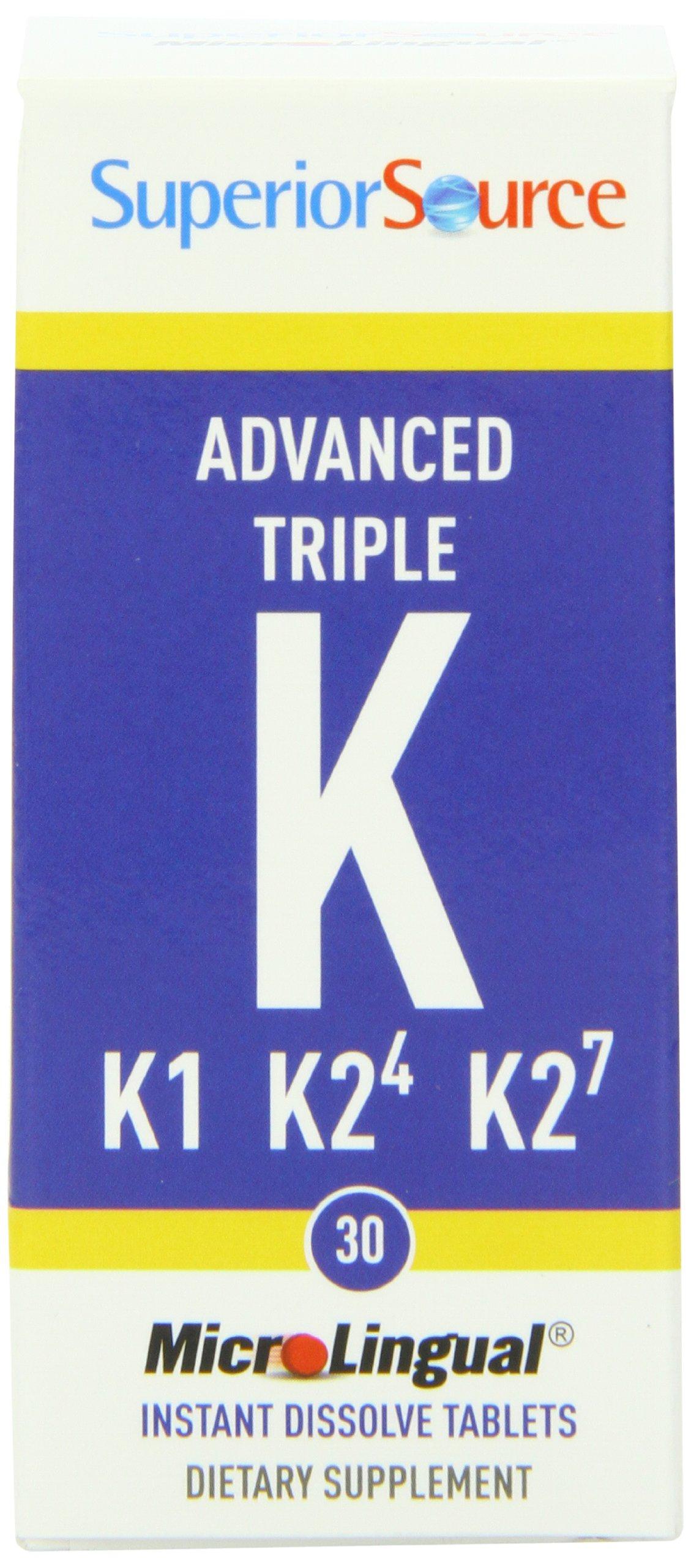 Superior Source Vitamin K1 K2 MK-4 MK-7 Sublingual - Menaquinone 4 500 mcg, Menaquinone 7 50 mcg Instant Dissolve Tablets - Dissolvable K2 Vitamins - 30 Count