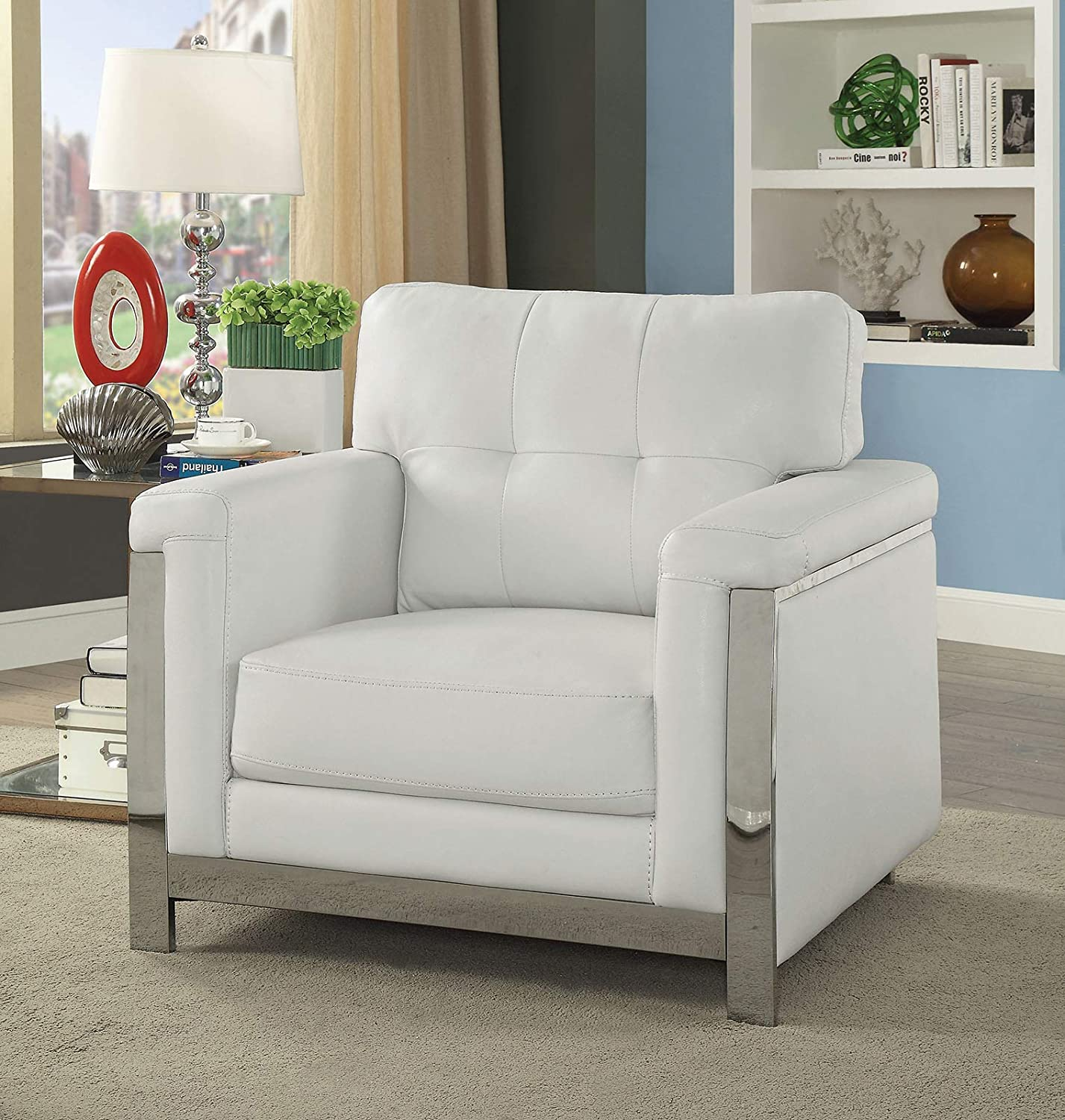 CDM product Benzara BM181364 Tufted Leather Upholstered Chair, White big image