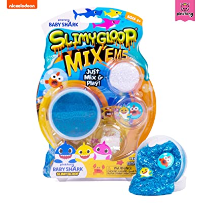 Baby Shark Slimygloop Mix'EMS by Horizon Group USA, Mix in Baby Shark & Figurines to Make Your Own Gooey, Slimy, Stretchy, Putty, Slime, Blue: Toys & Games