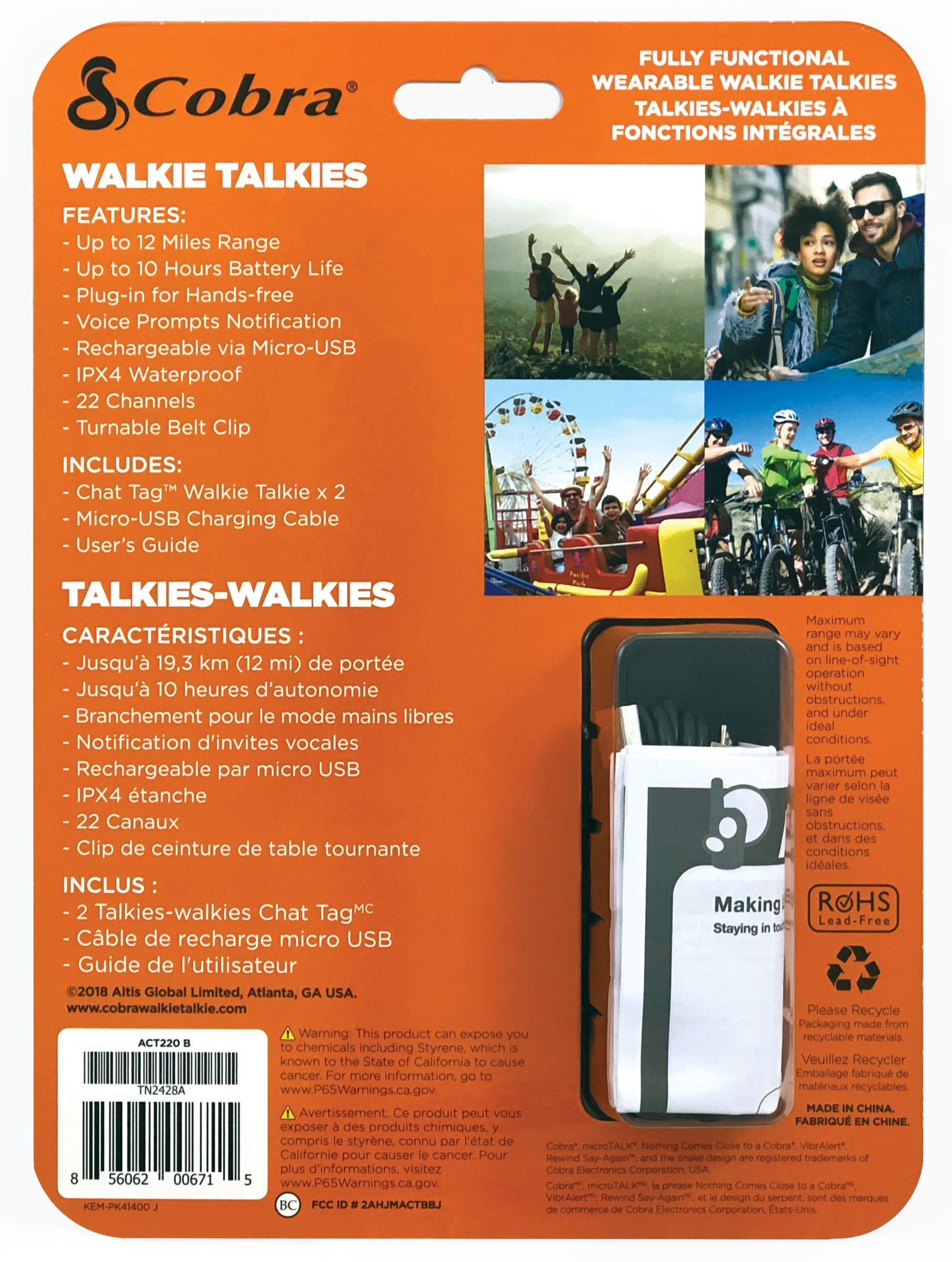 Cobra ACT220B Wearable Walkie Talkies Chat Tag Rock Hands Free 12-Mile Radios (Pair) by Cobra (Image #6)